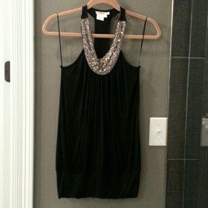 Tops - Beaded Tank.  Black knit.  Racer back style