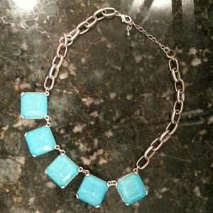 Turquoise colored square stone statement necklace
