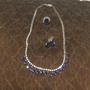 Jewelry - Rhinestone / blue Safire ring, necklace, earrings.