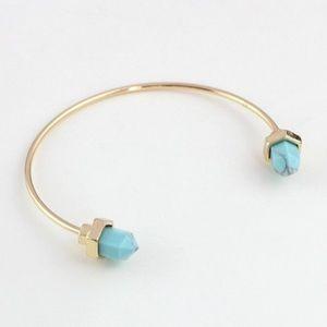 Boho Natural Turquoise Stone Open Cuff Bracelet