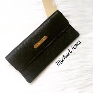 NWT Michael Kors Black Leather Flat Wallet!