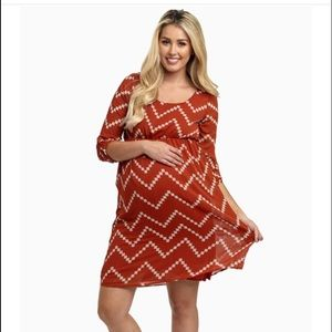 PinkBlush Rust & Beige Chevron Maternity Dress