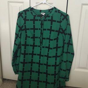 Merona Dresses & Skirts - Target Green Grid Print Shirt Dress