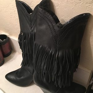Leather fringe boots