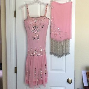 Hand  beaded silk Sue Wong dress with shawl