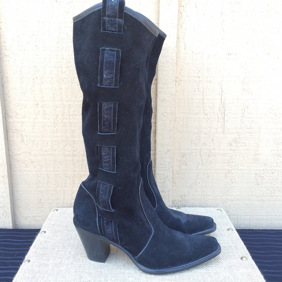 via spiga shoes suede westernstyle black boots poshmark