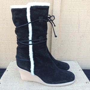 MICHAEL KORS Black Suede Shearling Wedge Boots
