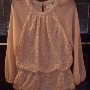 ECI Tops - Blouse, lace with sheer sleeves, size medium