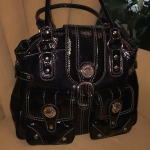 London Fog Black Patent Leather Handbag