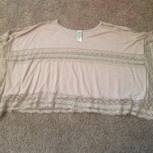 Free people Sz XS nude lace crop top AWESOME