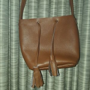 Cognac mini crossbody genuine leather