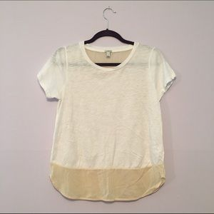 J. Crew White Cotton and Silk Top