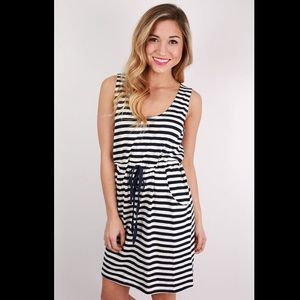 Piko Navy Striped Dress/Cover Up