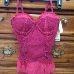 Native Other - 💀  🎈💰SALE❗👛Red Lacy Shear Bustier Top sz 34C