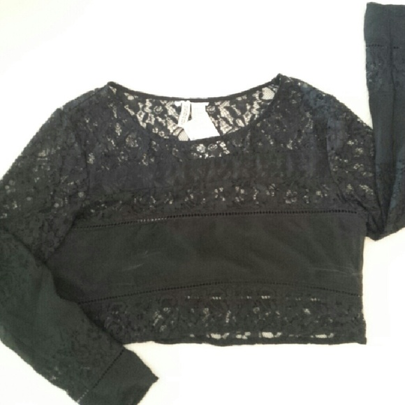 22cf70814bf769 H&M Divided Tops | Hm Black Lace Crop Top Nwt | Poshmark