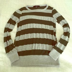 F21 Small gray and hunter green striped sweater