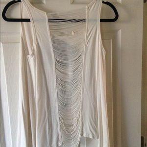 Goddess Tops - •Edgy White Flowy Blouse•