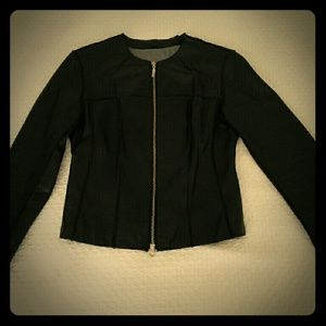 Black biker style leather jacket
