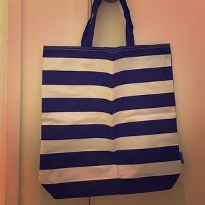 Handbags - St Tropez black & white striped canvas beach tote