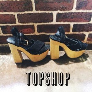 Topshop Shoes - Topshop Black Velvet & Wood Platform Heels