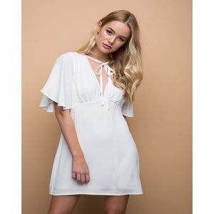 White Flutter Sleeve Neck Tie Dress