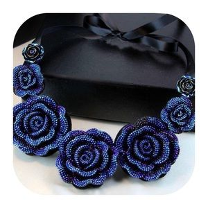 Jewelry - New Blue Floral Statement Necklace