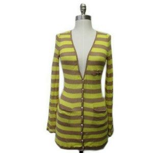 Anthropologie Moth striped deep Vneck cardi Sz S