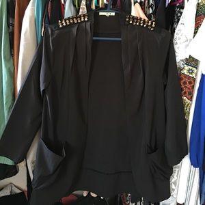 Black gold studded blazer