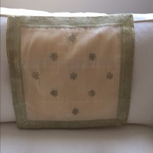 Other - 2 Ivory and gold silk cushion covers 16x16
