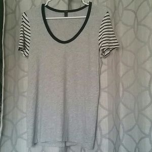 J. Crew gray and navy striped tee