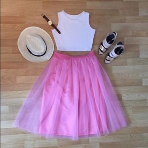 Pink Tulle Skirt with Lining and Pockets