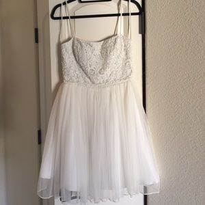 White Aidan Mattox Sequined Dress