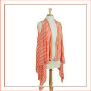 CLEARANCE! Striped peach cardigan vest