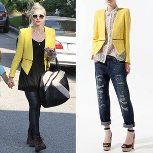 Zara Jackets & Blazers - Zara Yellow Fantasy Tweed Zip Blazer.