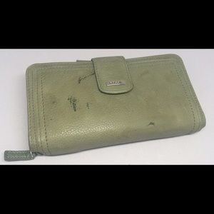 Green Fossil Wallet Genuine Leather Checkbook