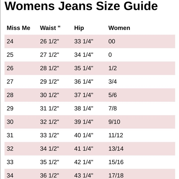 Miss me miss me jeans size chart from angie marie s closet on