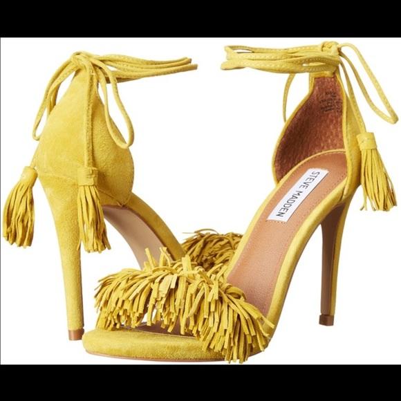 Yellow Steve Madden Fringe Heels
