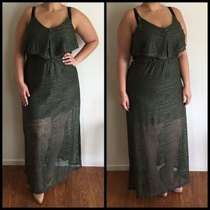 Dresses & Skirts - Military Green Lace Maxi*