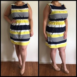 Dresses & Skirts - Yellow & Navy Stripped Dress