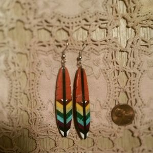 Jewelry - RARE Native American Stone Inlay Feather Earrings