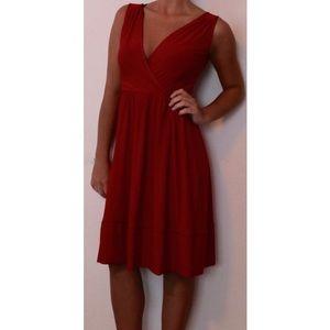 Red ABS Midi Dress