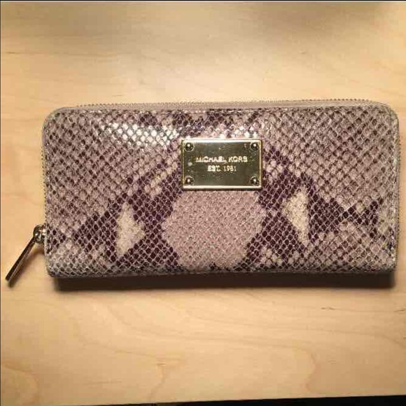 63c11f83408e98 Michael Kors Bags | Wallet Clutch Snake Skin Leather | Poshmark