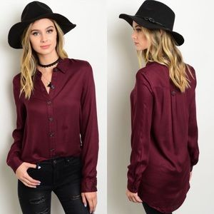 CLEARANCE Burgundy Button Down Hi-Low Long Top