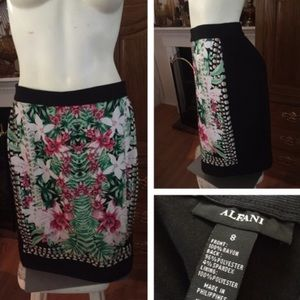 Alfani Dresses & Skirts - ALFANI Black Pencil Skirt w Floral Front Design
