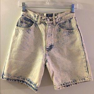Vintage acid wash distressed long jean shorts