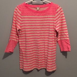 J.Crew pink striped shirt