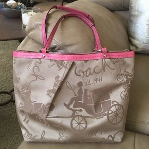 Coach Handbags - Coach Tan Cloth Shoulder Tote Pink Leather Straps