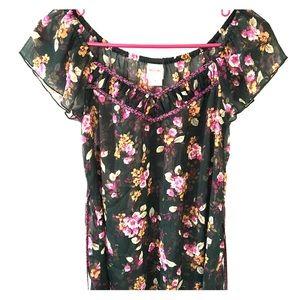 Off the Shoulder Sheer Black and Floral Top