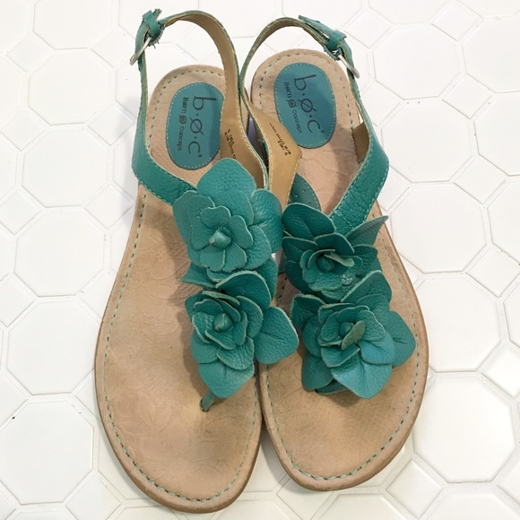 7b0409d7d Born Shoes - BOC Born Concept Teal Leather Flower Sandals 9