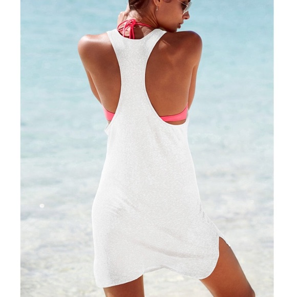 5b239327d4 Victoria's Secret Swim | Victorias Secret Racerback Cover Up White ...